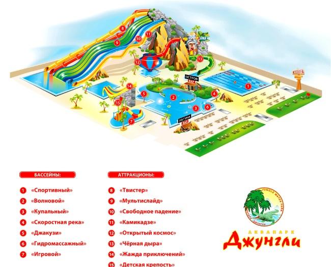 Карта аквапарка Джунгли